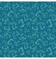 Vintage Blue Green Swirls Leaves Seamless vector image