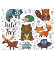 wild and free woodland tribal animals set vector image vector image