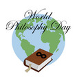 world philosophy day stack of books with open vector image vector image