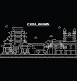 wuhan silhouette skyline china - wuhan vector image vector image