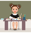 Girl on the drawing lesson vector image