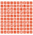 100 set grunge orange vector image vector image
