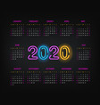 2020 year calendar template two thousand twenty vector image