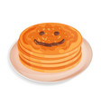 a pile of pancakes on a plate smiley face drawn vector image