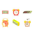 alarm clock icon set cartoon style vector image