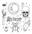 alchemy symbol icon set spirituality occultism vector image