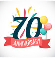 anniversary 70 years template with ribbon vector image