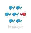 Be unique concept blue and red fish isolated vector image