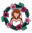 bride with flower garland wedding day vector image vector image