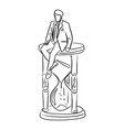 businessman sitting on big hourglass vector image