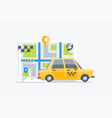 car taxi on the map background vector image