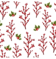 Christmas berry flower seamless pattern vector image vector image