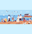 cute happy people walking along quay or seafront vector image vector image