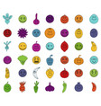 emoji icon set color outline style vector image