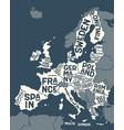 european union europe poster map european vector image vector image