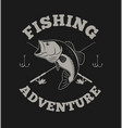 fishing adventure with bass fish and fishing rod vector image vector image