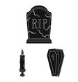 Funeral ceremony black icons in set collection for