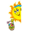 lurking sun with easter eggs vector image