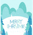 merry christmas greeting card winter landscape vector image vector image