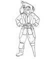 one-legged captain wooden foot man is a pirate vector image vector image
