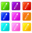 pencil with eraser set 9 vector image vector image