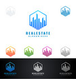 real estate logo with abstract property and home vector image vector image