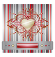 Red - gray background with heart vector image vector image