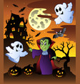 scene with halloween mansion 4 vector image vector image