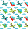 seamless pattern with cartoon helicopters vector image