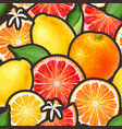 seamless pattern with citrus fruits and flowers vector image vector image
