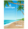 seascape background with swing on tropical beach vector image vector image