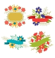 Set of design elements with ribbons labels and vector image vector image
