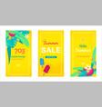 set social media stories sale banner tropical vector image