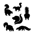 silhouettes of skunk vector image vector image