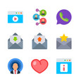social and connect colored trendy icon pack 2 vector image