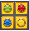 Square buttons with colored diamonds for game or vector image