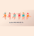 summer season vacation card women in bikini vector image vector image