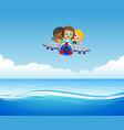 three boys riding plane over sea vector image vector image