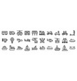 transportation related icon set 3 line style vector image