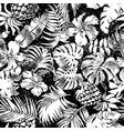 tropical flower leaf pineapple patchwork vector image vector image
