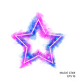 watercolor magic fire star with neon counter vector image