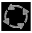 white halftone rotate cw icon vector image