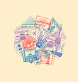 world visa rubber stamps collection vector image