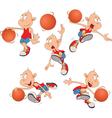 Cute Little Boys Basketball play vector image