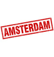 Amsterdam red square grunge stamp on white vector image
