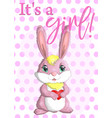 baby shower greeting card with cute rabbits girl vector image