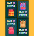 back to school bags rucksacks and satchels poster vector image vector image