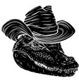 black silhouette alligator head with hat vector image vector image