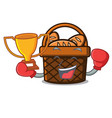 boxing winner bread basket mascot cartoon vector image vector image