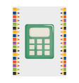 calculator math device with colors pencils frame vector image
